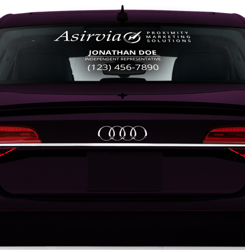 Asirvia Rear Window Decal with Phone Number