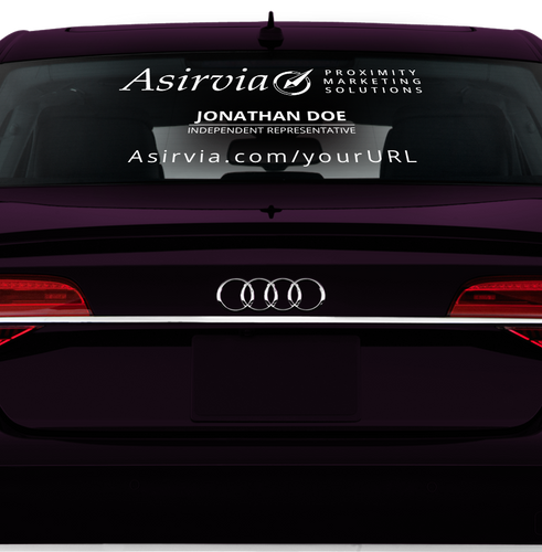 Asirvia Rear Window Decal with Website