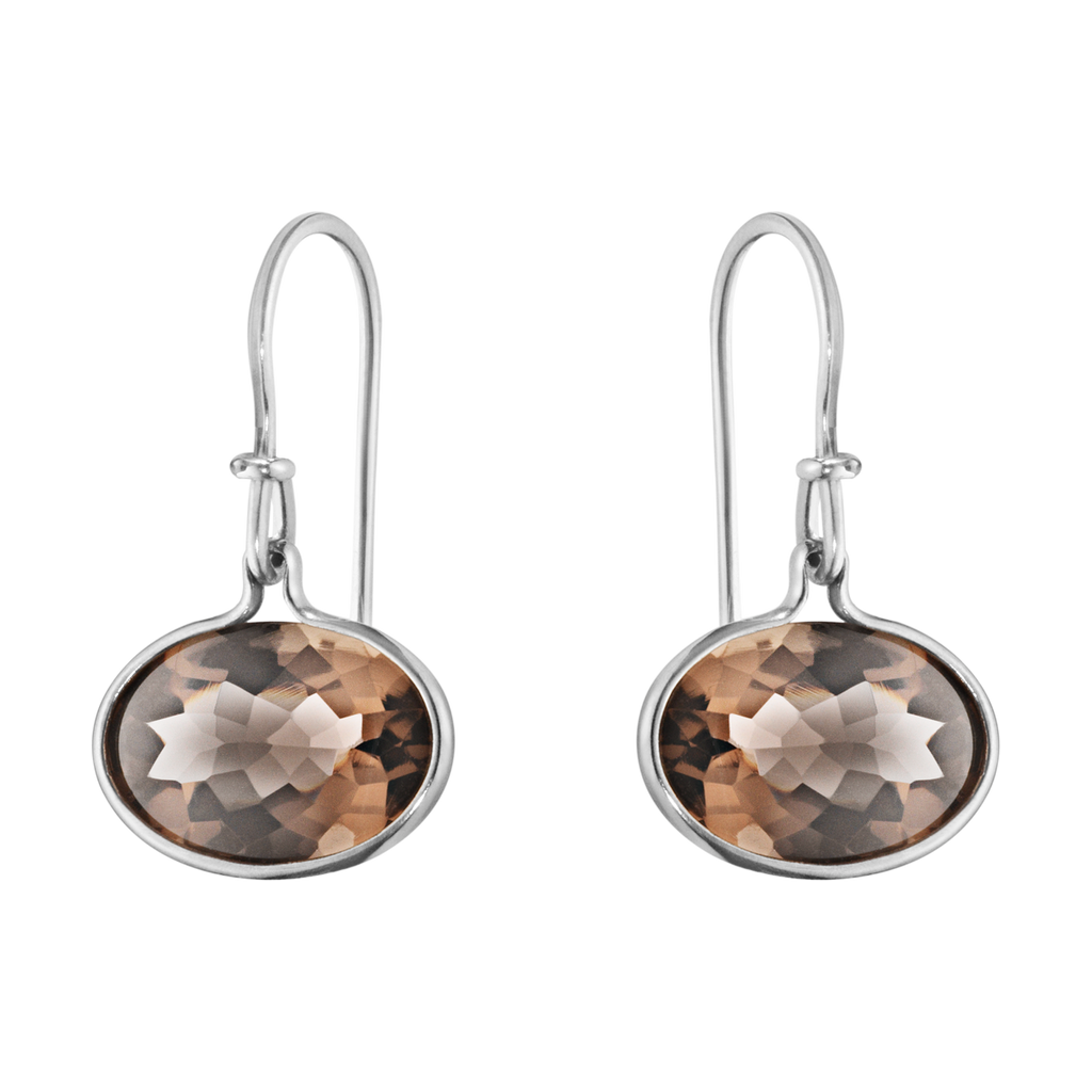 Savannah sterling silver earrings with smokey quartz, birthday gift