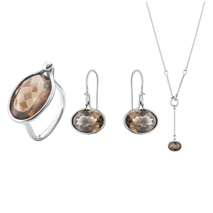 Savannah Ring, Earrings & Pendant Bundle - Sterling Silver With Smokey Quartz