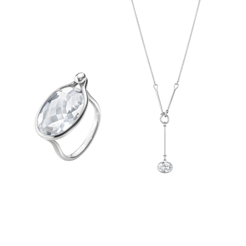 Savannah Ring & Pendant Bundle - Sterling Silver With Rock Crystal