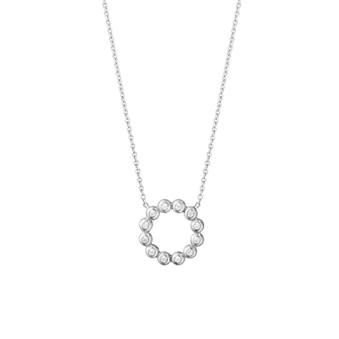 Aurora Circle Pendant - 18 Kt. White Gold With Brilliant Cut Diamonds