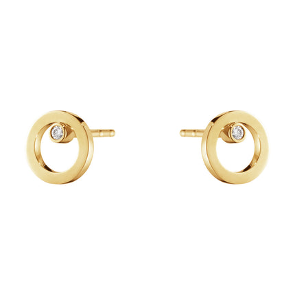 Georg Jensen Halo Earstud 1632a Yellow Gold And Diamond 0.03 Ct