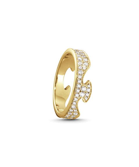 Fusion End Ring - 18kt. Yellow Gold With Diamonds Pave