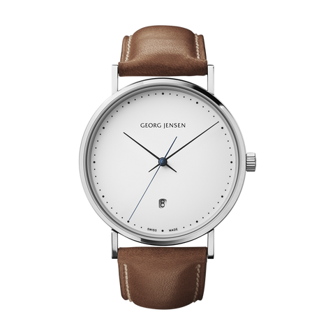 Koppel - 41 mm, Quartz, White Dial, Brown Leather Strap