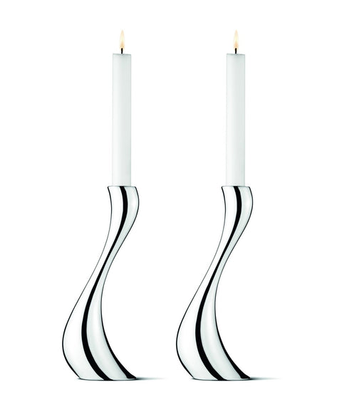Cobra Candleholder - Stainless Steel Mirror, Medium, 2 Pieces