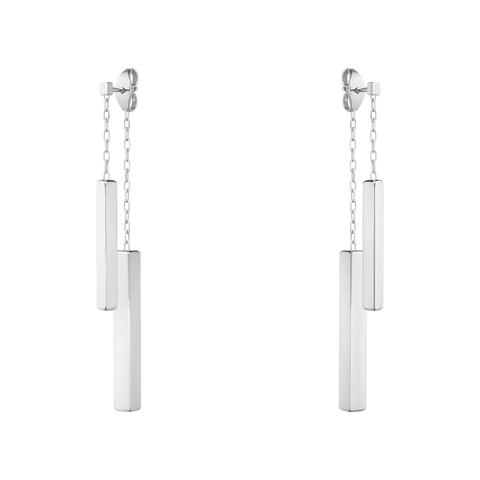 Aria Earrings - Double Bar, Sterling Silver