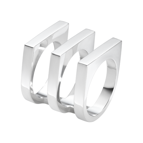 Aria Ring - Three Row, Sterling Silver 54