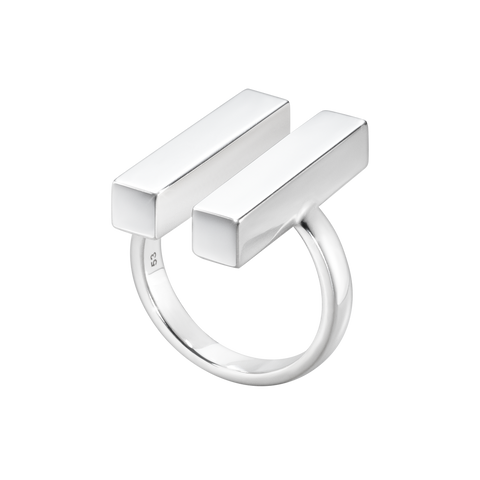 Aria Ring - Two Bar, Sterling Silver 52