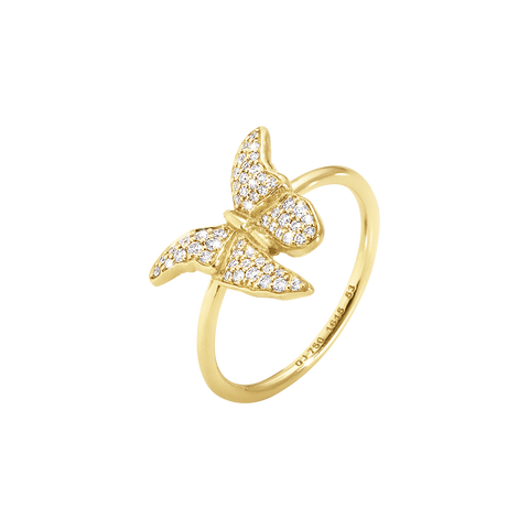 Askill Ring - 18 Kt. Yellow Gold With Brilliant Cut Diamonds 54