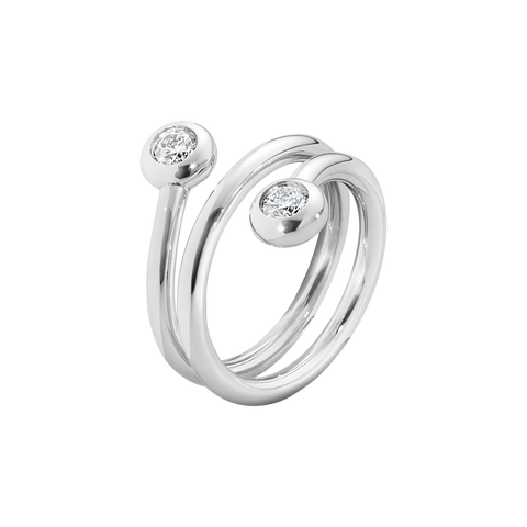 Aurora Ring - 18 Kt. White Gold With Brilliant Cut Diamonds 55