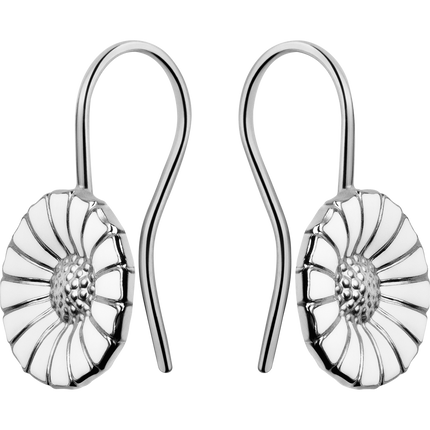Daisy Earrings - Rhodinated Sterling Silver With Enamel
