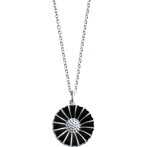 Daisy Pendant - Rhodinated Sterling Silver With Black Enamel