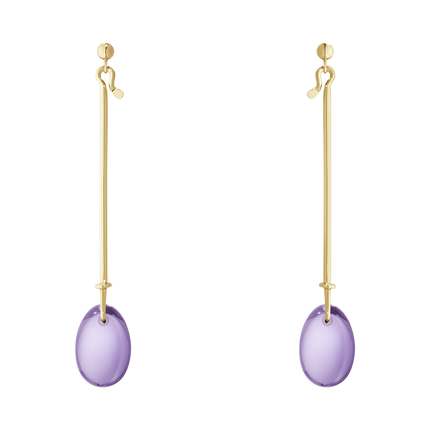 Dew Drop Earrings - 18 Kt. Yellow Gold With Amethyst