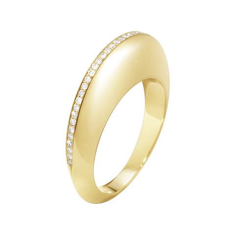 Dune Ring - 18 Kt. Yellow Gold With Brilliant Cut Diamonds 55