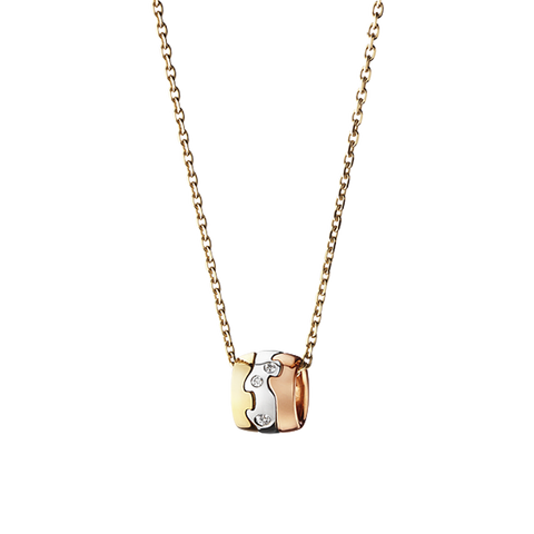 Fusion Pendant - 18 Kt. Yellow, White And Rose Gold With Brilliant Cut Diamonds