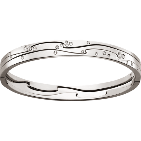 Fusion Bangle - 18 Kt. White Gold With Brilliant Cut Diamonds M