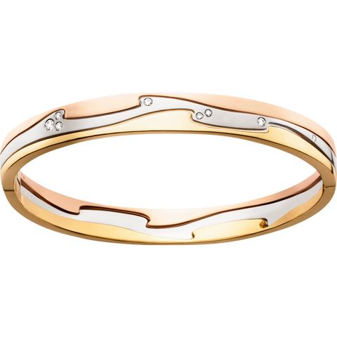 Fusion Bangle - 18 Kt. Yellow, White And Rose Gold With Brilliant Cut Diamonds