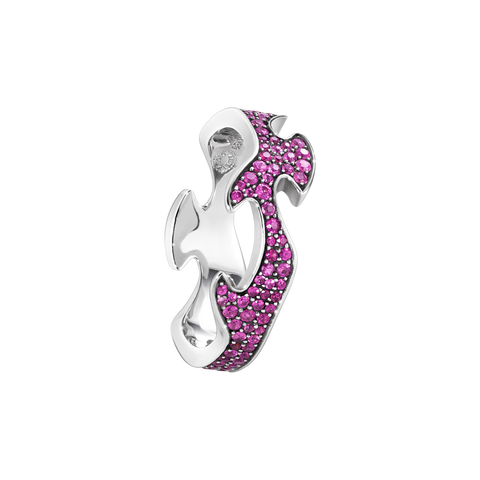 Fusion Centre Ring - 18 Kt. White Gold With Pink Sapphires 55