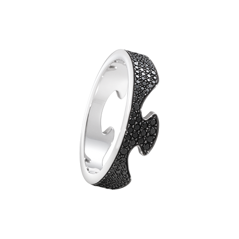 Fusion End Ring - 18 Kt. White Gold With Black Diamonds 56