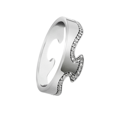 Fusion End Ring - 18 Kt. White Gold With Brilliant Cut Diamonds 59