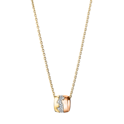 Fusion Pendant - 18 Kt. Yellow, Rose And White Gold With Pave Set Brilliants