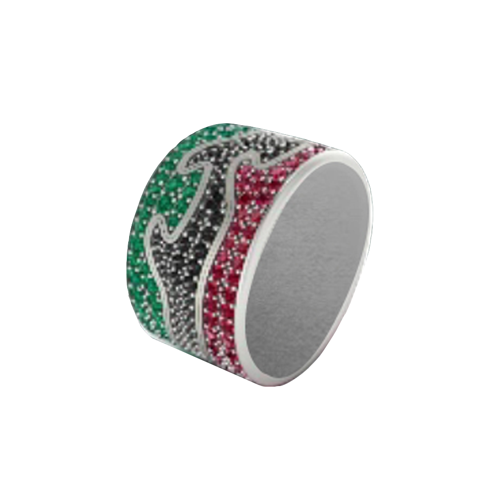 Fusion Limited Edition End Ring 1370A - White Gold, Ruby Pave