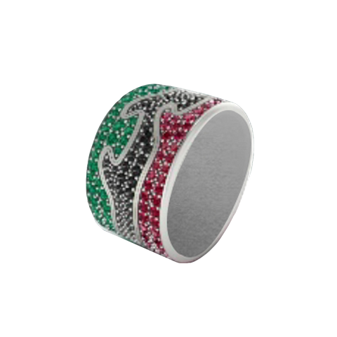 Fusion Limited Edition End Ring 1370 - White Gold, Emerald Pave 52