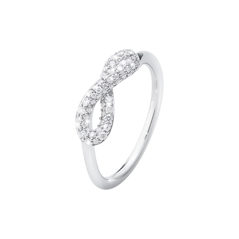 Infinity Ring - Sterling Silver With Brilliant Cut Diamonds 55