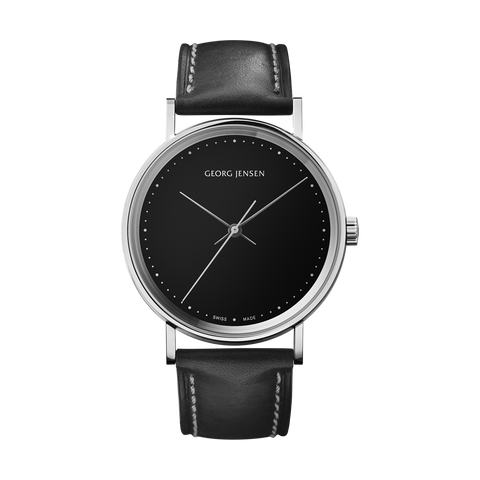 Koppel - 38 mm, Mechanical Hand-Wound, Black Dial, Black Leather Strap