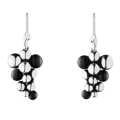 Moonlight Grapes Earrings - Oxidised Sterling Silver With Black Agate