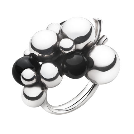 Moonlight Grapes Ring - Sterling Silver With Black Agate, Large 51