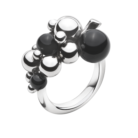 Moonlight Grapes Ring - Sterling Silver With Black Agate, Small 53
