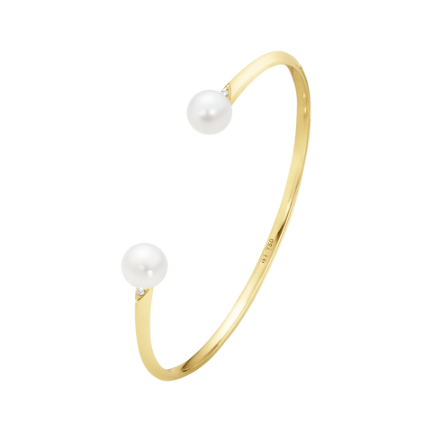 Neva Bangle - 18 Kt. Yellow Gold With Pearls And Brilliant Cut Diamonds S