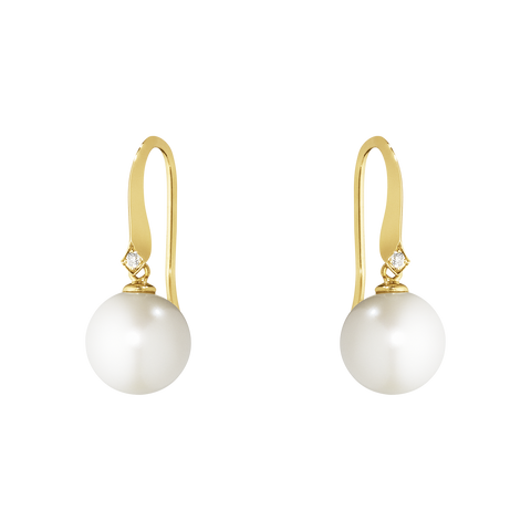 Neva Earrings - 18 Kt. Yellow Gold With Pearls And Brilliant Cut Diamonds