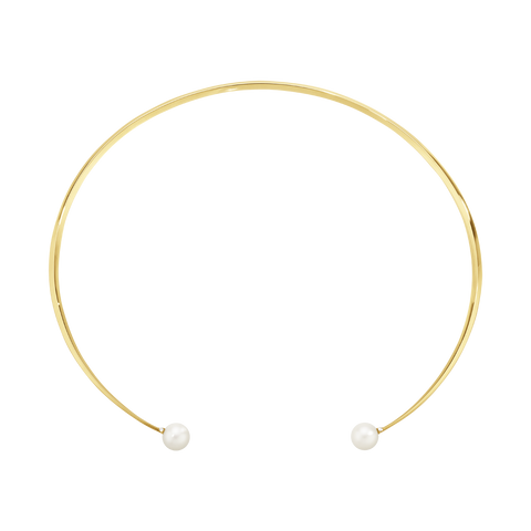Neva Neckring - 18 Kt. Yellow Gold With Pearls And Brilliant Cut Diamonds S/M