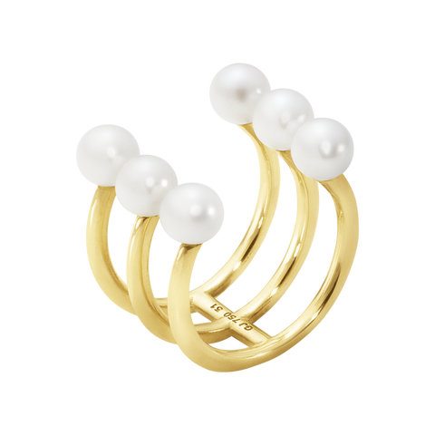 Neva Ring - 18 Kt. Yellow Gold With Pearls 57