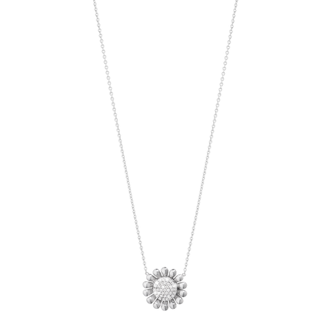 Sunflower Pendant - Sterling Silver With Brilliant Cut Diamonds, Small