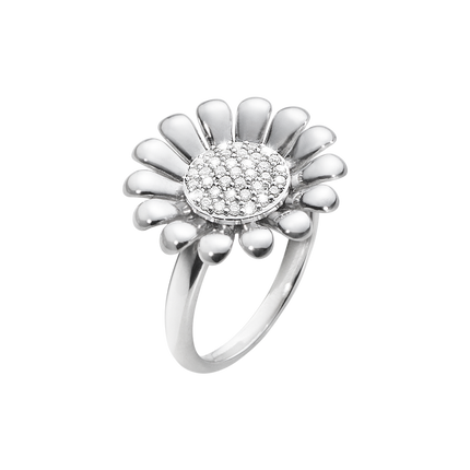 Sunflower Ring - Sterling Silver With Brilliant Cut Diamonds, Large 57