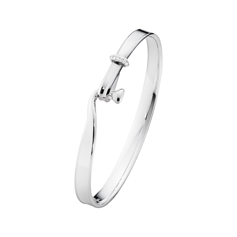 Torun Bangle - Sterling Silver With 18 Kt. White Gold And Brilliant Cut Diamonds S