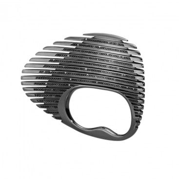 Lamellae Double Ring - Black Rhodium Plated Sterling Silver With Black Diamonds