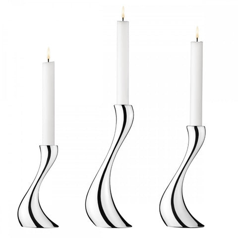 Cobra 3 Piece Candleholders, Stainless Steel Mirror + Candles