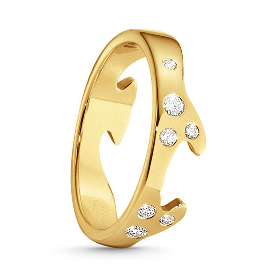 Fusion End Ring - 18kt Yellow Gold With Brilliant Cut Diamonds