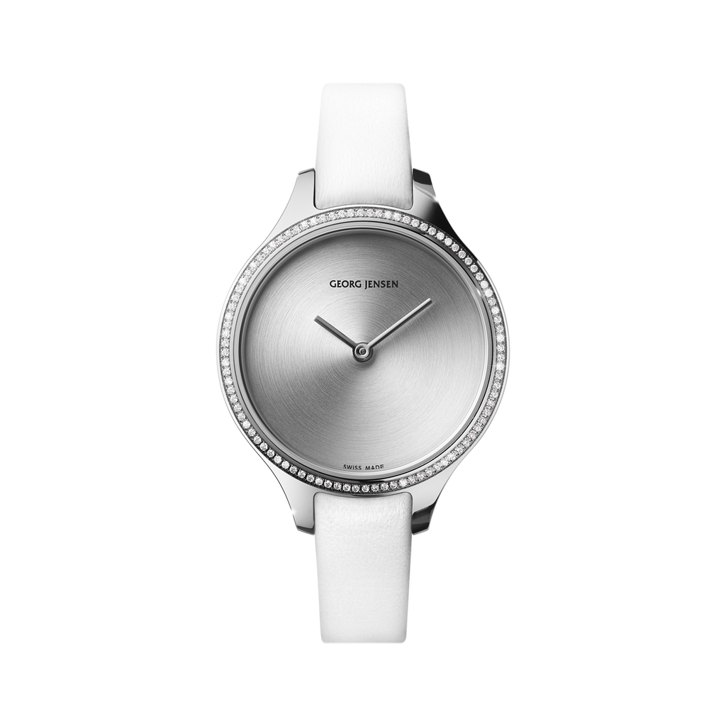 Georg Jensen Concave watch, quartz , diamond bezel, white strap