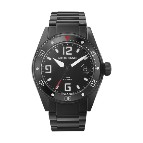 Delta Dive - 42 mm, Black Dial, Black PVD Case, Steel Bracelet