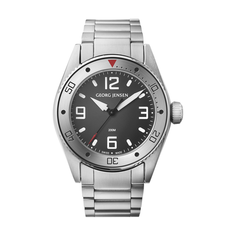 Delta Dive - 42 mm, Quartz, Grey Dial, Steel Bracelet