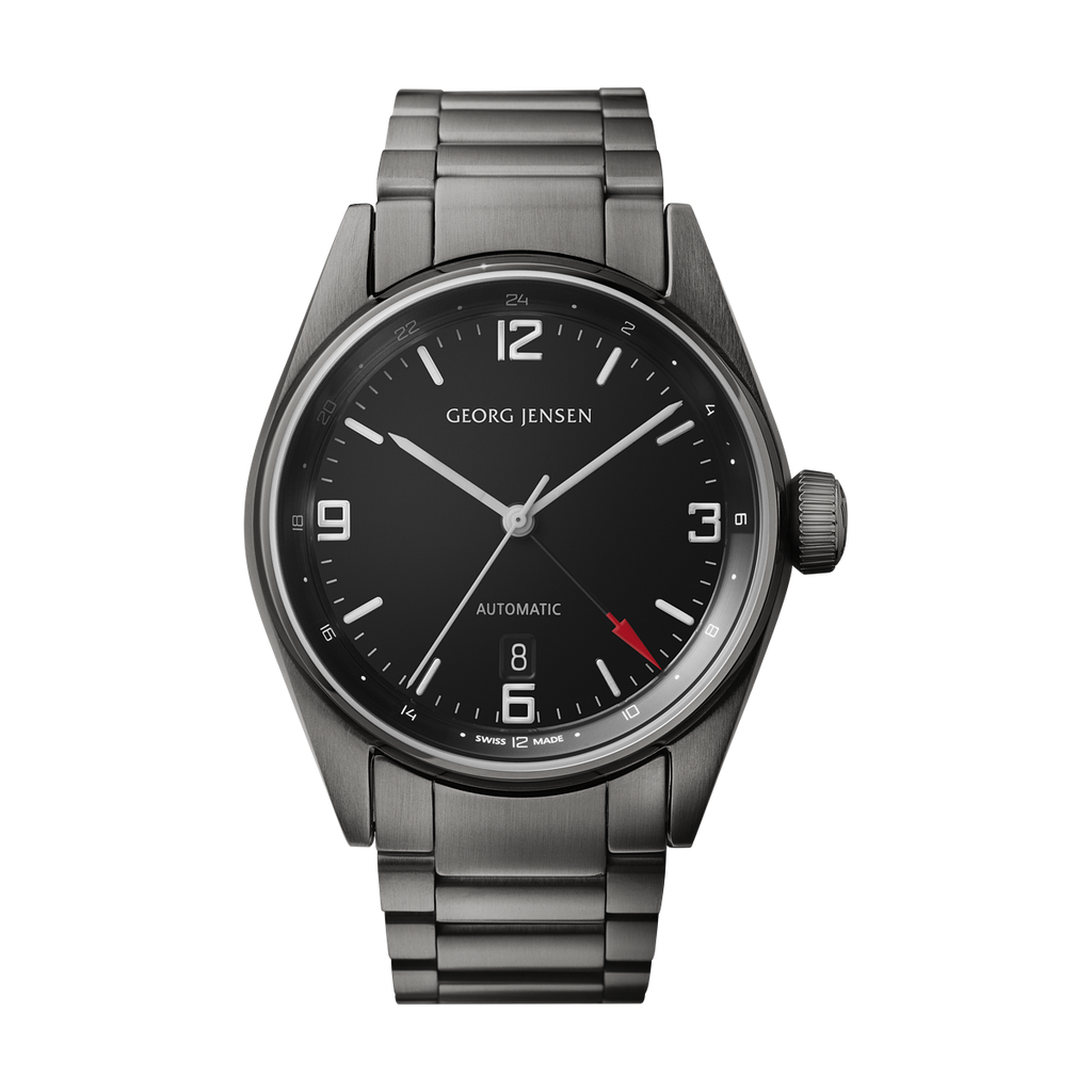 Georg Jensen Delta watch, GMT, black steel bracelet