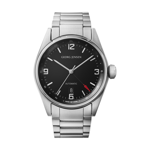 Delta Classic - GMT, 42mm, Black Dial With Steel Bracelet