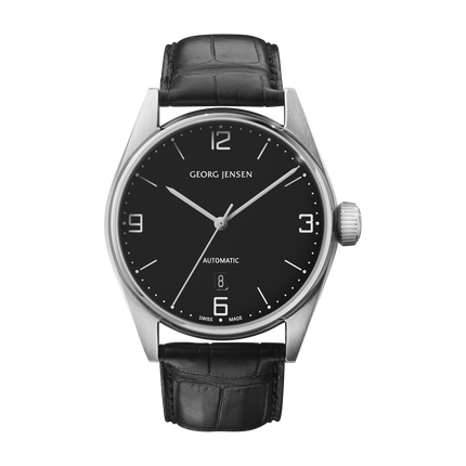 Georg Jensen Delta watch, black alligator strap