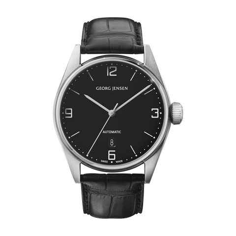 Delta Classic - 42 mm, Automatic Mechanical, Black Dial, Black Calf Strap